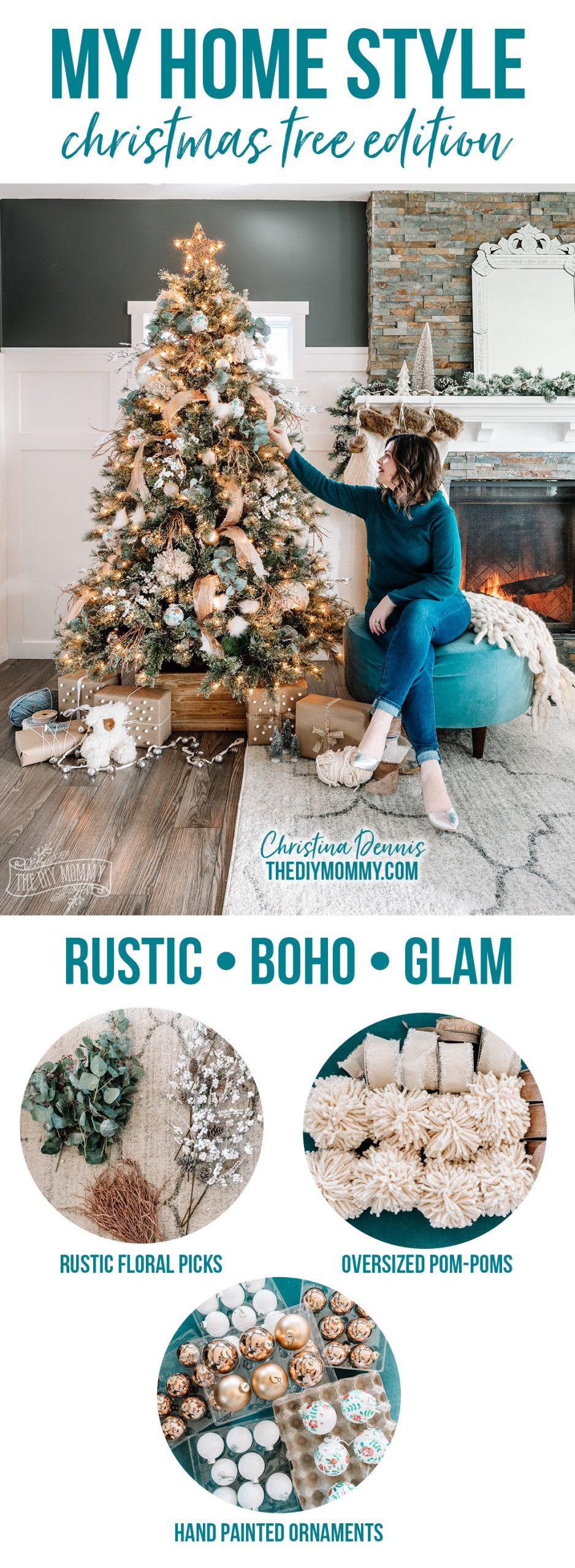 Rustic Boho Glam Christmas Tree Decorating Ideas