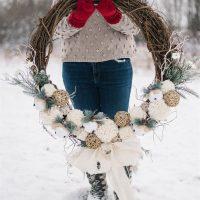 DIY Rustic Pom Pom Christmas or Winter Wreath