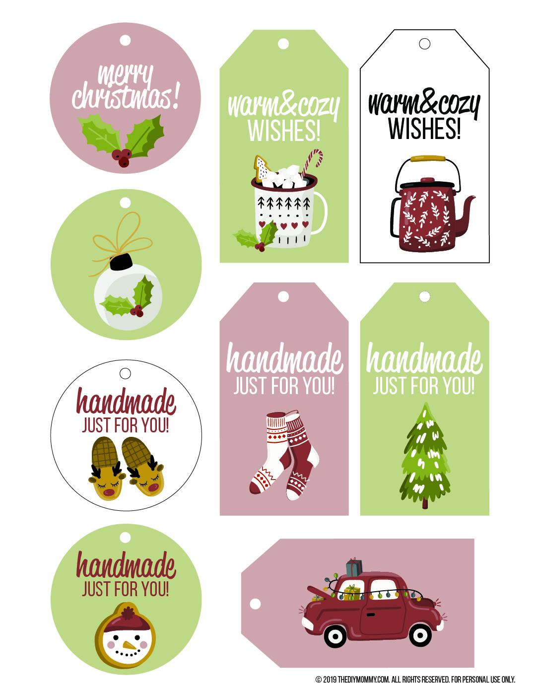 Nordic Inspired Handmade Free Printable Christmas Gift Tags