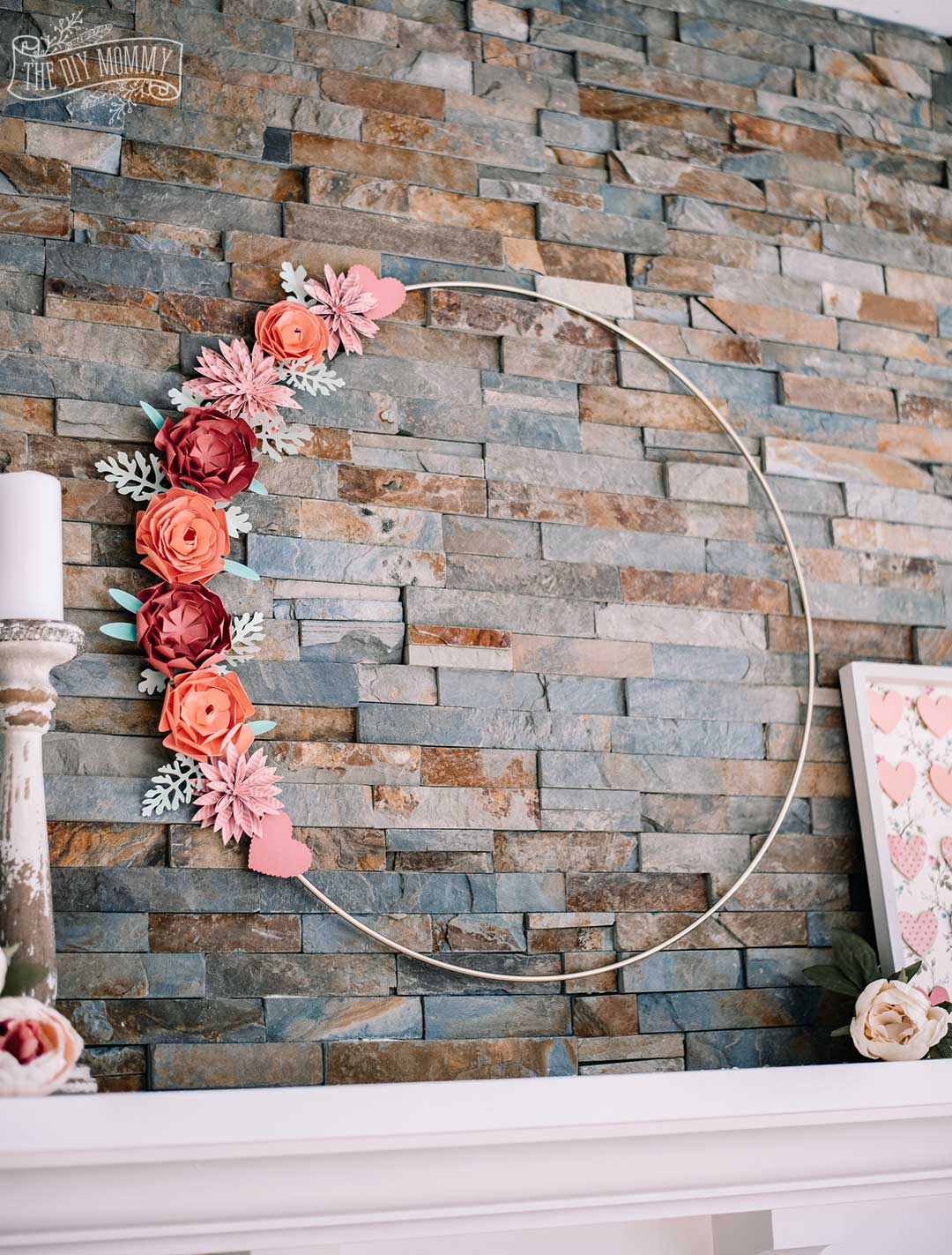 Floral Valentine Hoop Wreath - make the paper flowers with your Cricut!