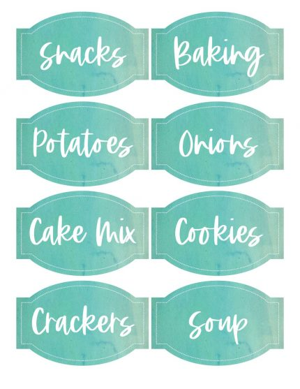 Free Printable Pantry Labels in Turquoise Teal Watercolor