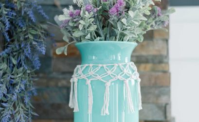 How to make a macrame collar for a Dollar Tree vase for Spring decor