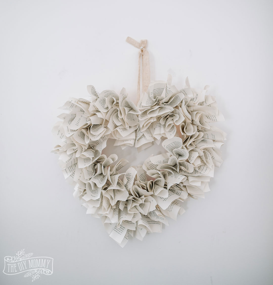 DIY Heart Shaped Book Page Wreath Video Tutorial