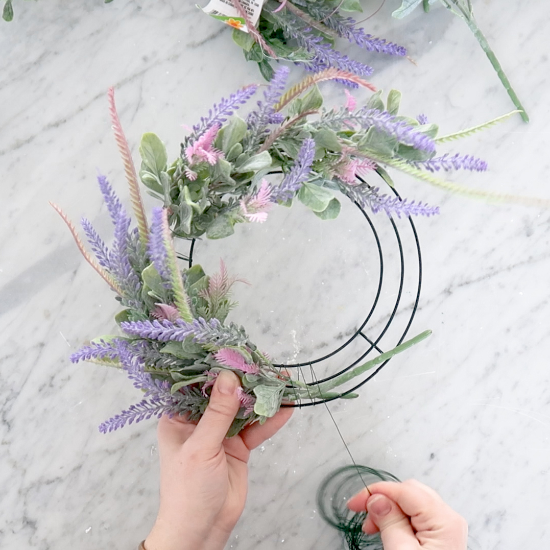 How to make a candle wreath using Dollar Tree faux lavender and lamb's ear florals