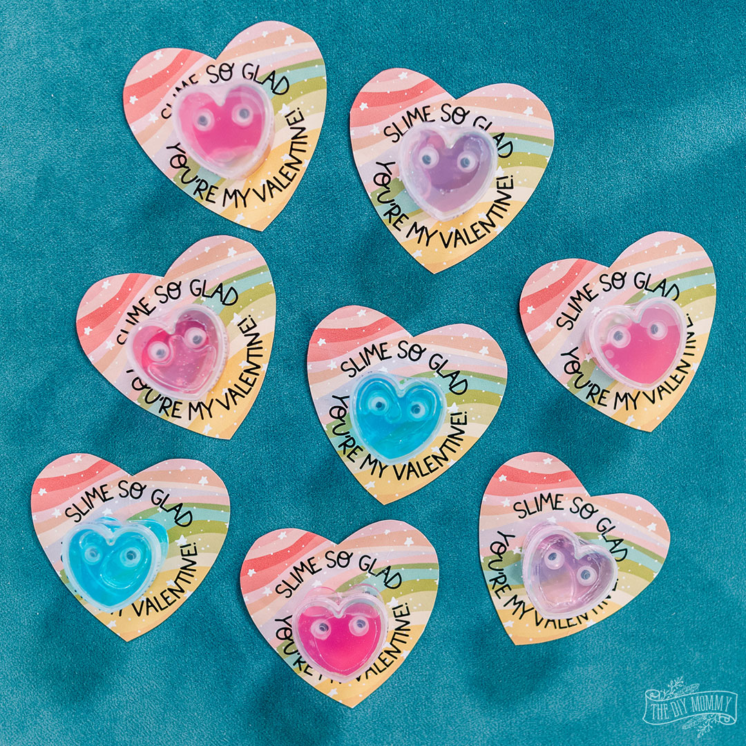 An adorable free Valentine printable with a slime theme
