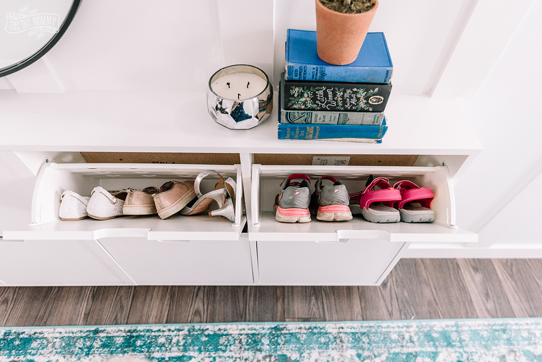Small Entryway Makeover using Ikea Stall shoe storage and DIY board & batten
