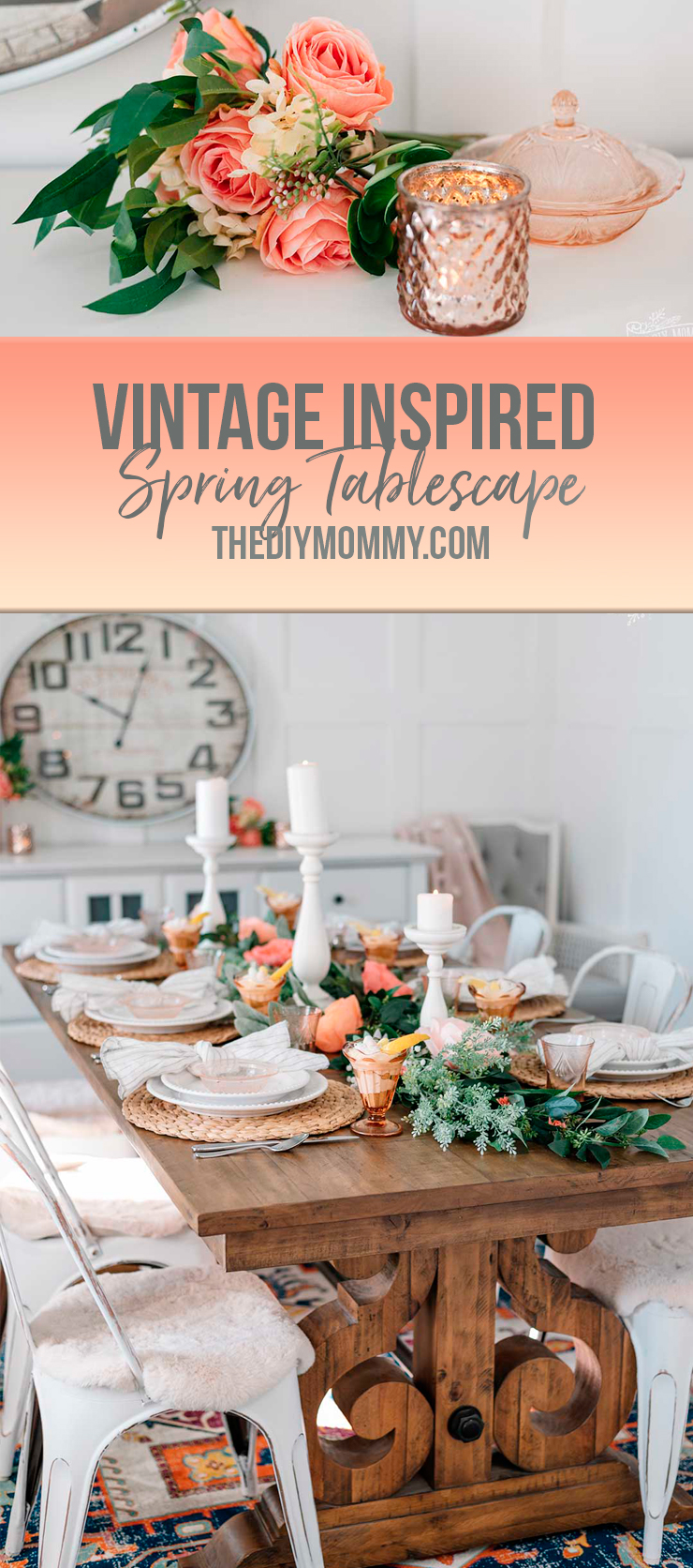 Come see my spring tablescape in warm pinks, yellows, and vintage-inspired accents. Get some ideas on how to decorate your own table for Easter or Spring!