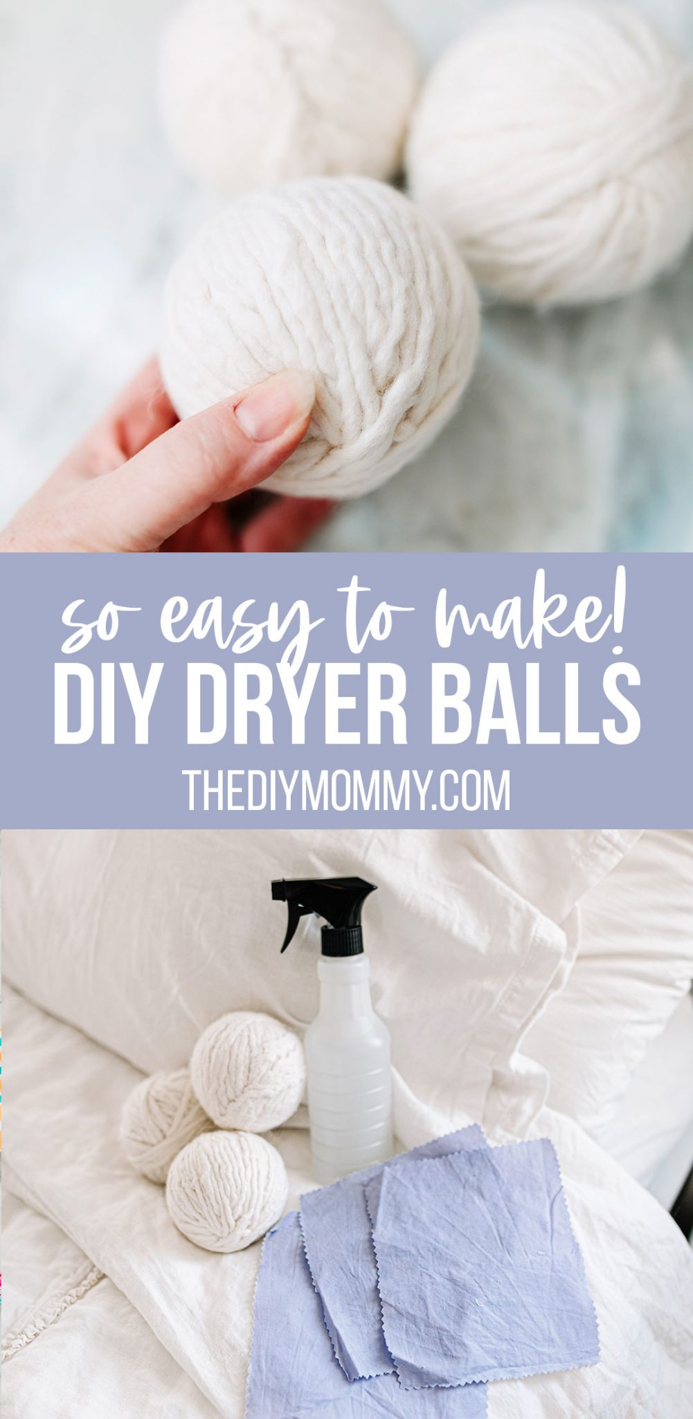 How to make DIY dryer balls from wool yarn. SO easy, reusable and works wonders in the laundry!