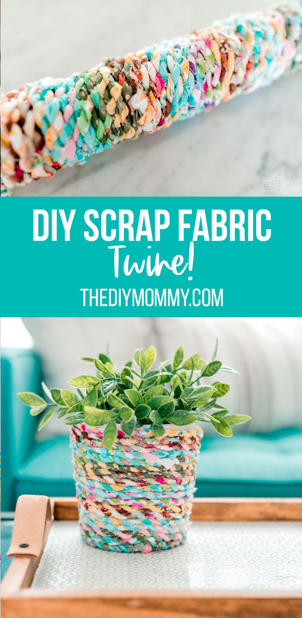 How to make DIY fabric scrap twine from small strips of extra fabric