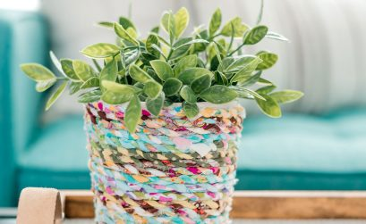 DIY Boho Inspired Flower Pot from Scrap Fabric Twine