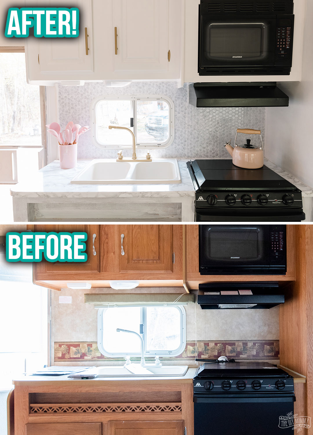 This camper kitchen counter area was completely made over with peel & stick tile back splash, contact paper counter, and spray paint!