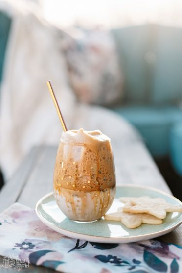 This DIY whipped or Dalgona coffee uses real espresso and less sweetener. You can also make it sugar free!