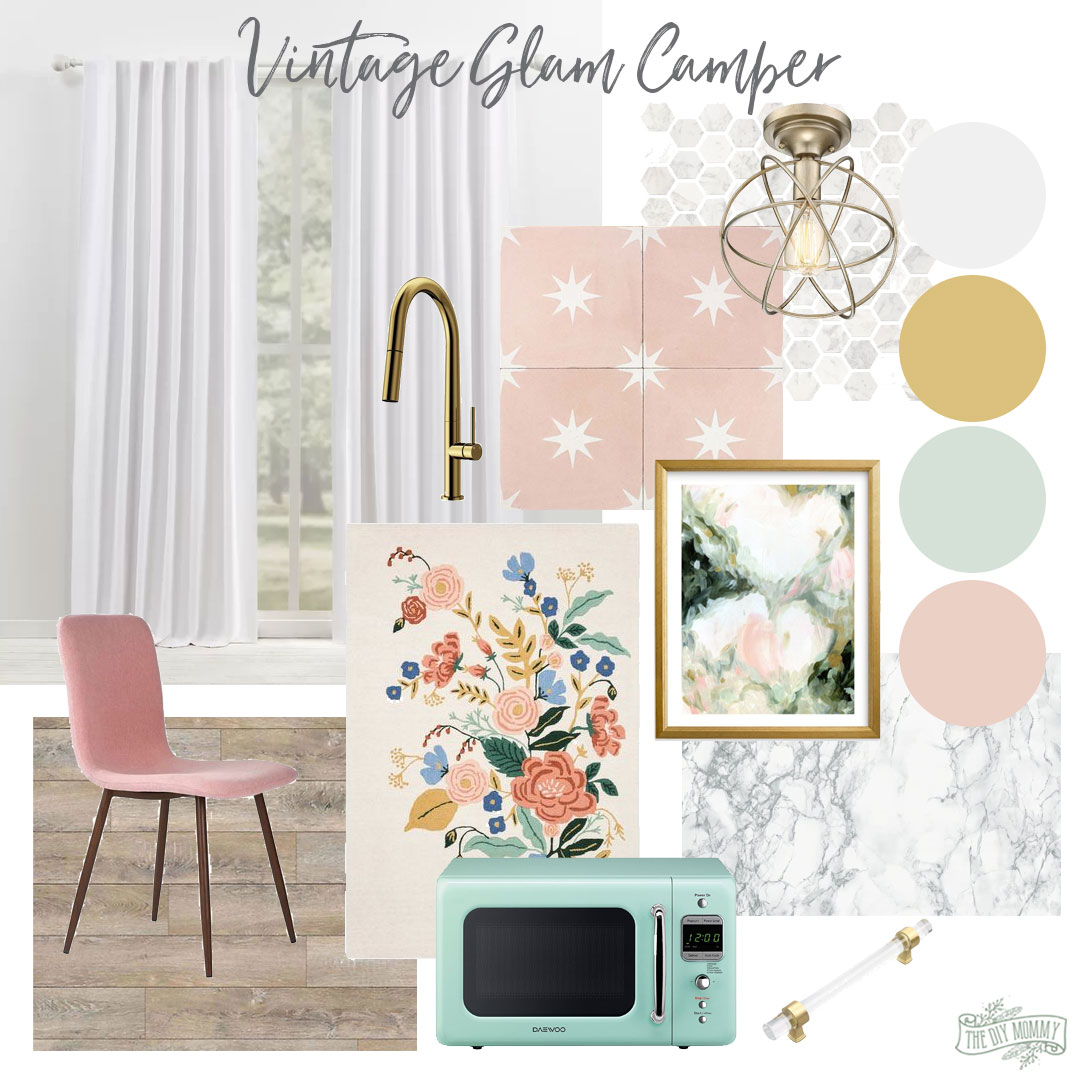 Vintage glam camper mood board with marble, pink, gold, mint green and fresh fun accents.