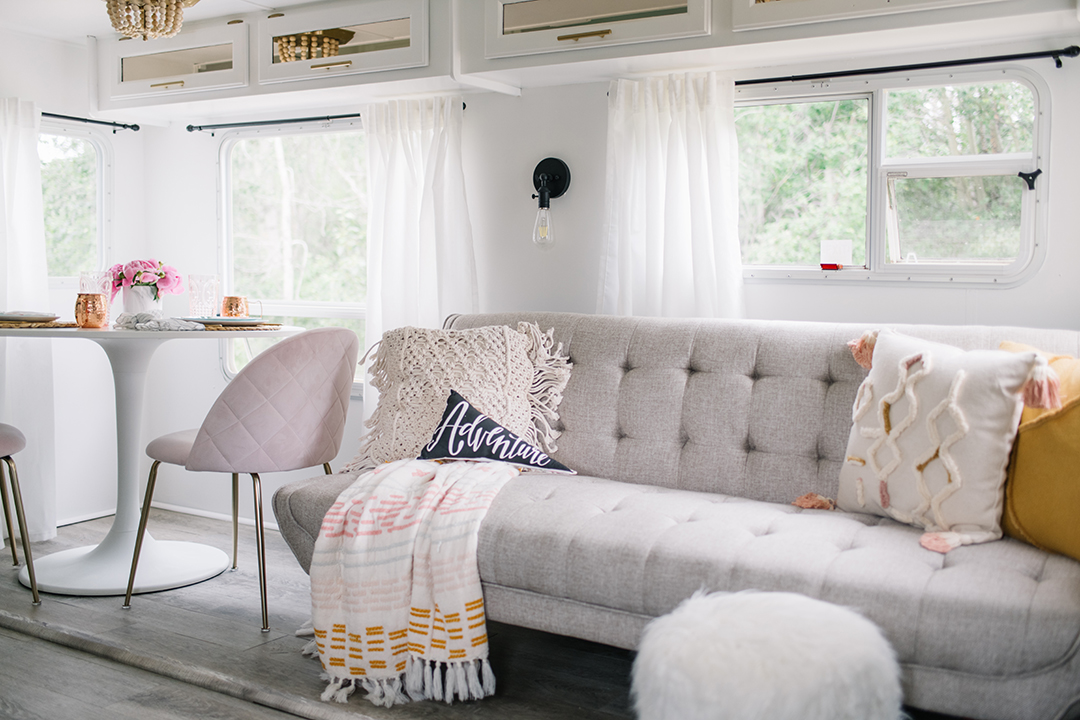 DIY RV makeover in white, pink, mint green and gold with modern & vintage glam accents.