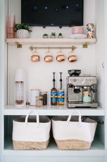 Turn a dated camper entertainment unit into an RV Coffee Bar and Drink Station