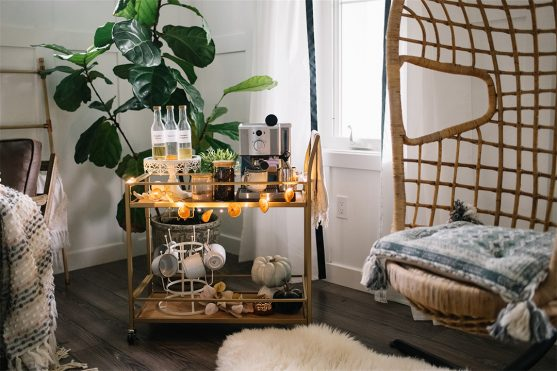 How to make a cozy coffee station at home with an Amazon bar cart