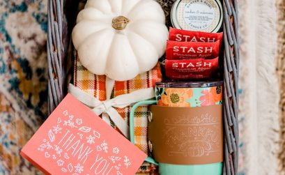 This simple Fall thank you gift basket makes a great gift to show appreciation for someone special. Learn how to make a foil effect Thank You card and leather mug cozy with foil lettering.