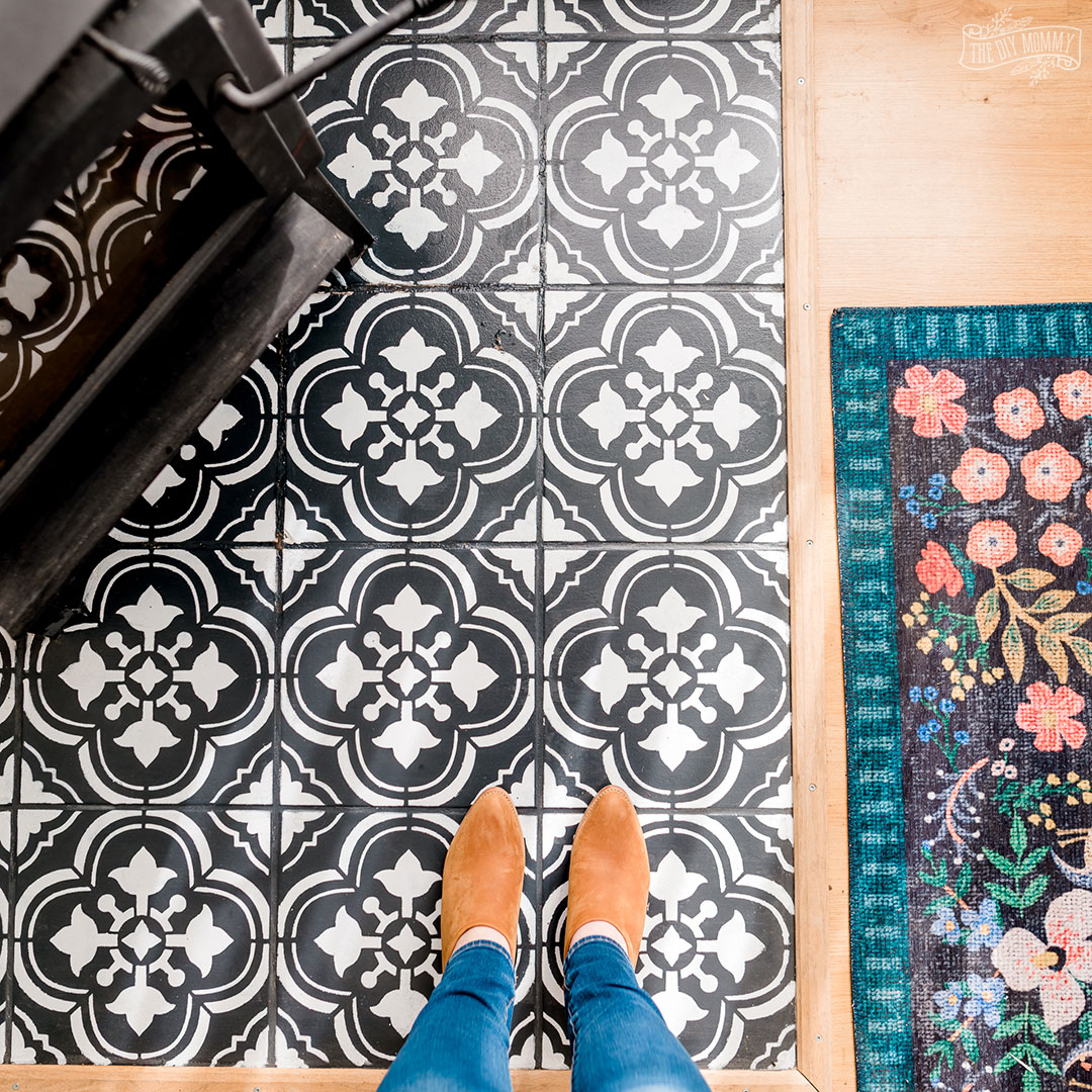 Here's how our painted floor tiles look 2 ½ years later.