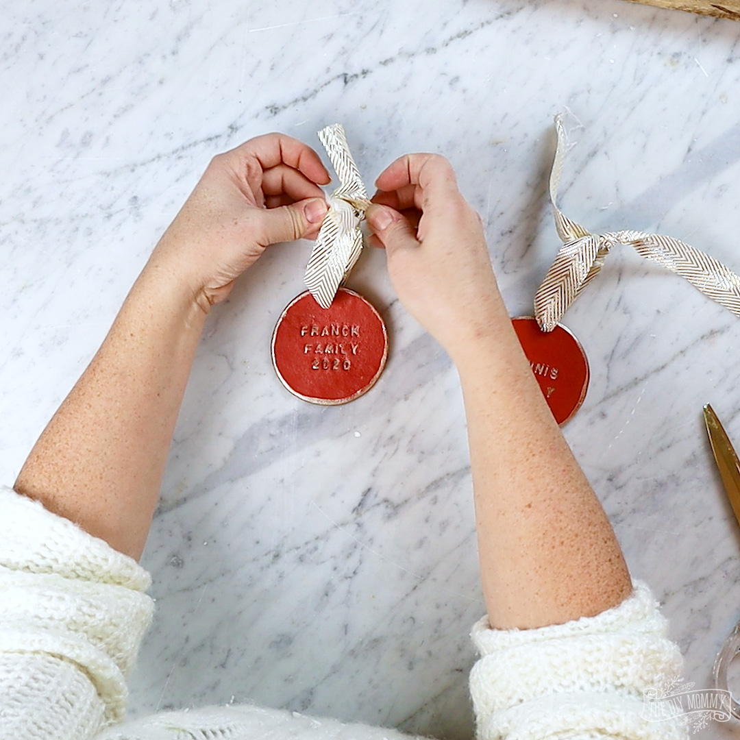 DIY Stamped Christmas Ornament made with Clay