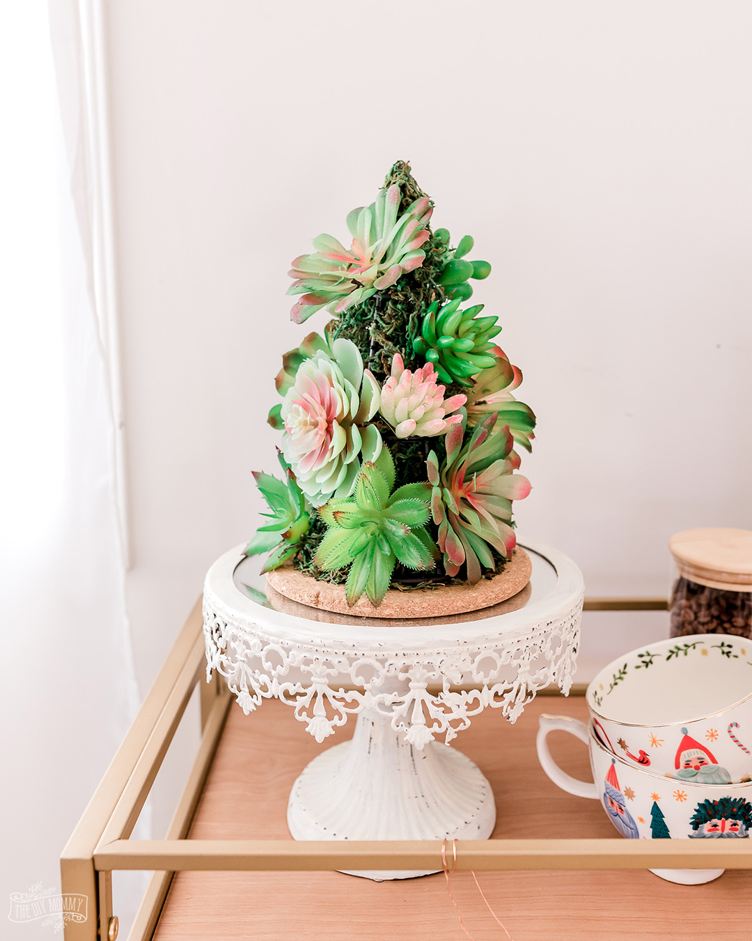 Make a faux succulent Christmas tree tabletop decor with all Dollar Tree supplies!Make a faux succulent Christmas tree tabletop decor with all Dollar Tree supplies!