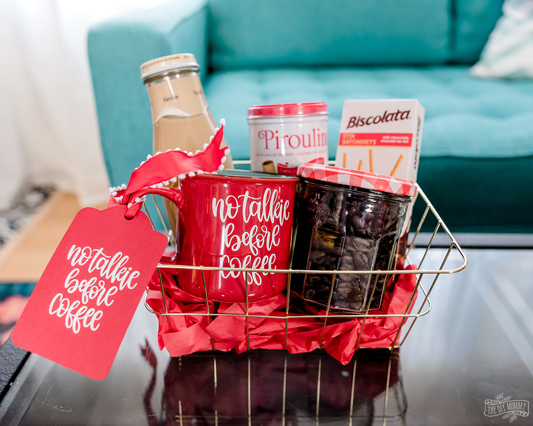 Use dollar store items to create beautiful, themed gift baskets. Personalize them with a Cricut for a finishing touch!