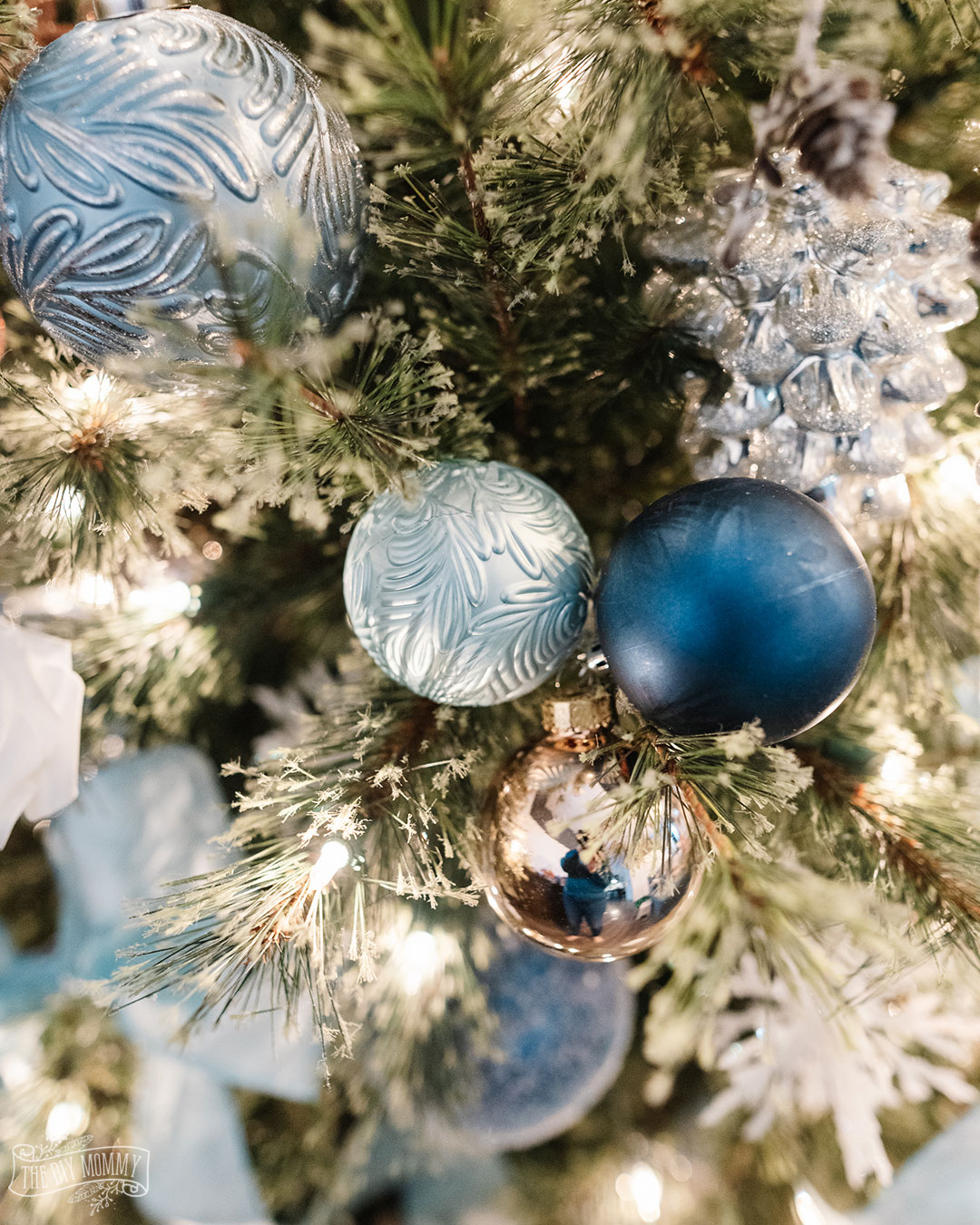 Favorite Things inspired Christmas Tree in blues, silvers and rose gold