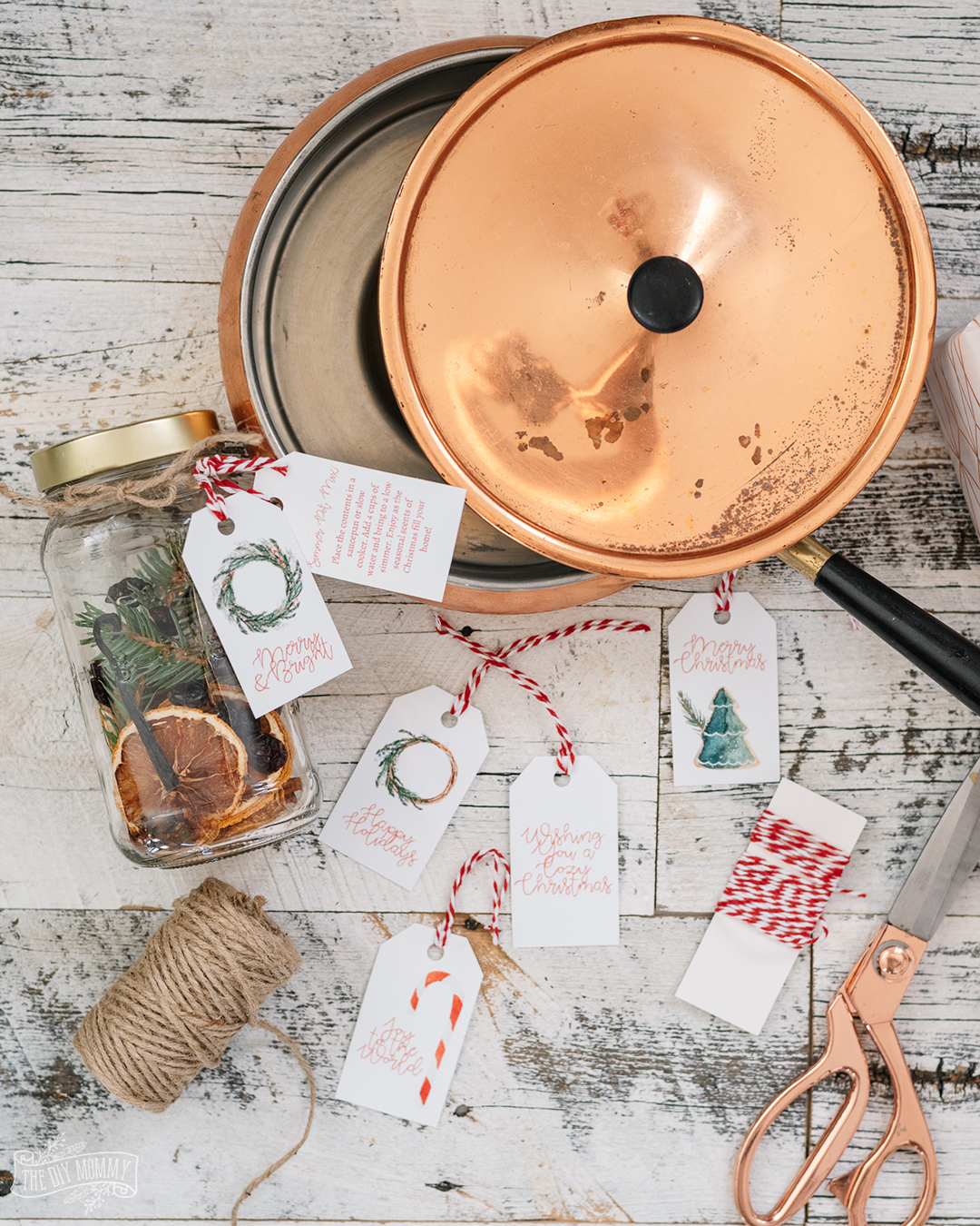 Easy and budget friendly simmer pot mix gift idea - simply add dried fruit, spices and greenery and some handmade tags!