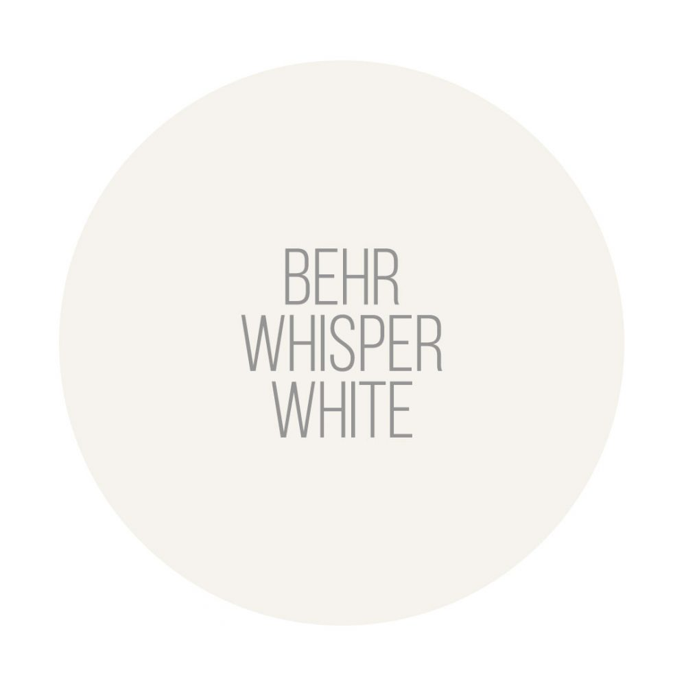 BEHR Whisper White is a beautiful white paint color that leans slightly to the warm side while still looking like a clear white colour.