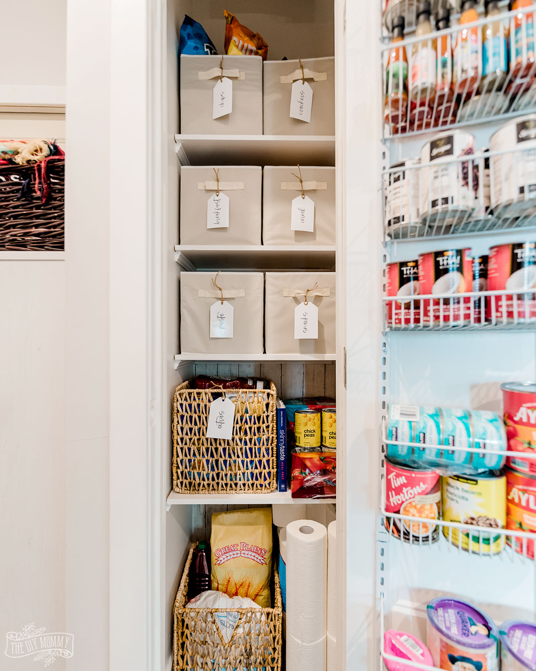 How to turn a tiny, useless closet into a useful, organized small pantry.