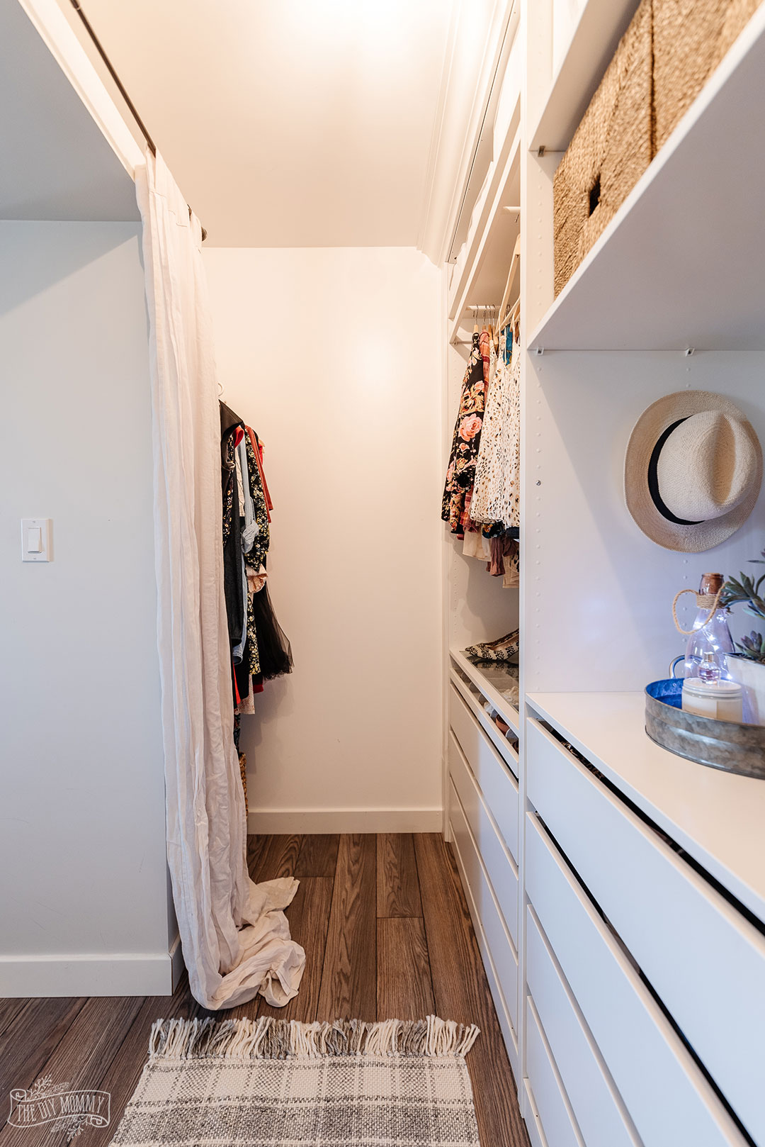 Before and after of a small walk-in closet transformed with DIY IKEA Pax units