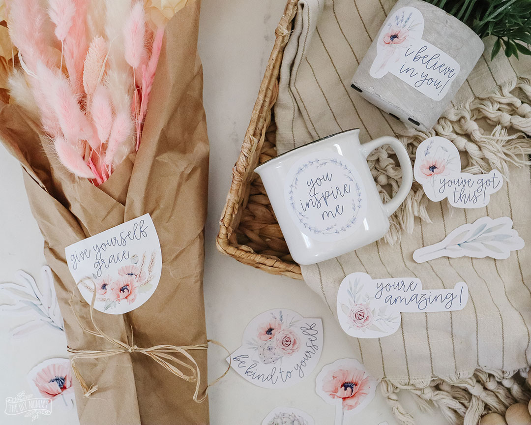 Learn how to make stickers with Cricut (or without!) and get free floral encouragement stickers to print and cut at home.