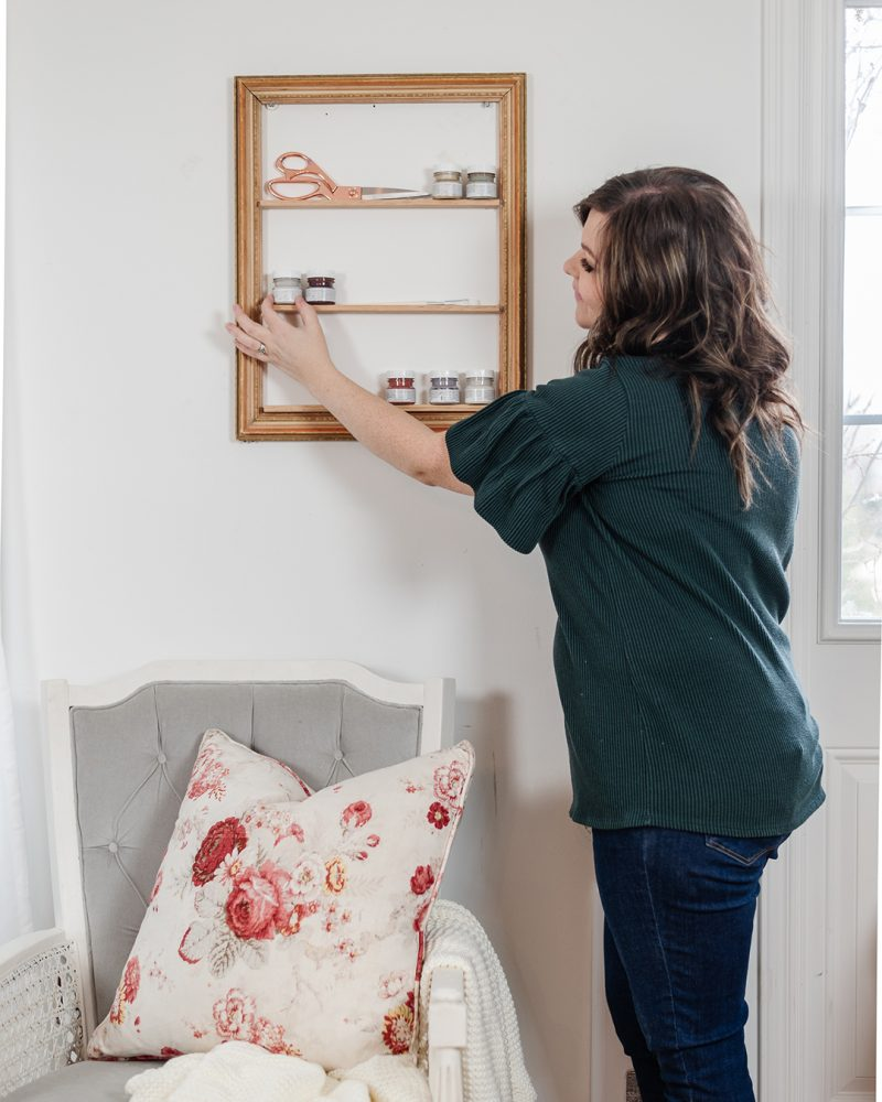 Learn how to upcycle an antique picture frame into a shelf that's perfect for craft supplies, beauty supplies or decor items.