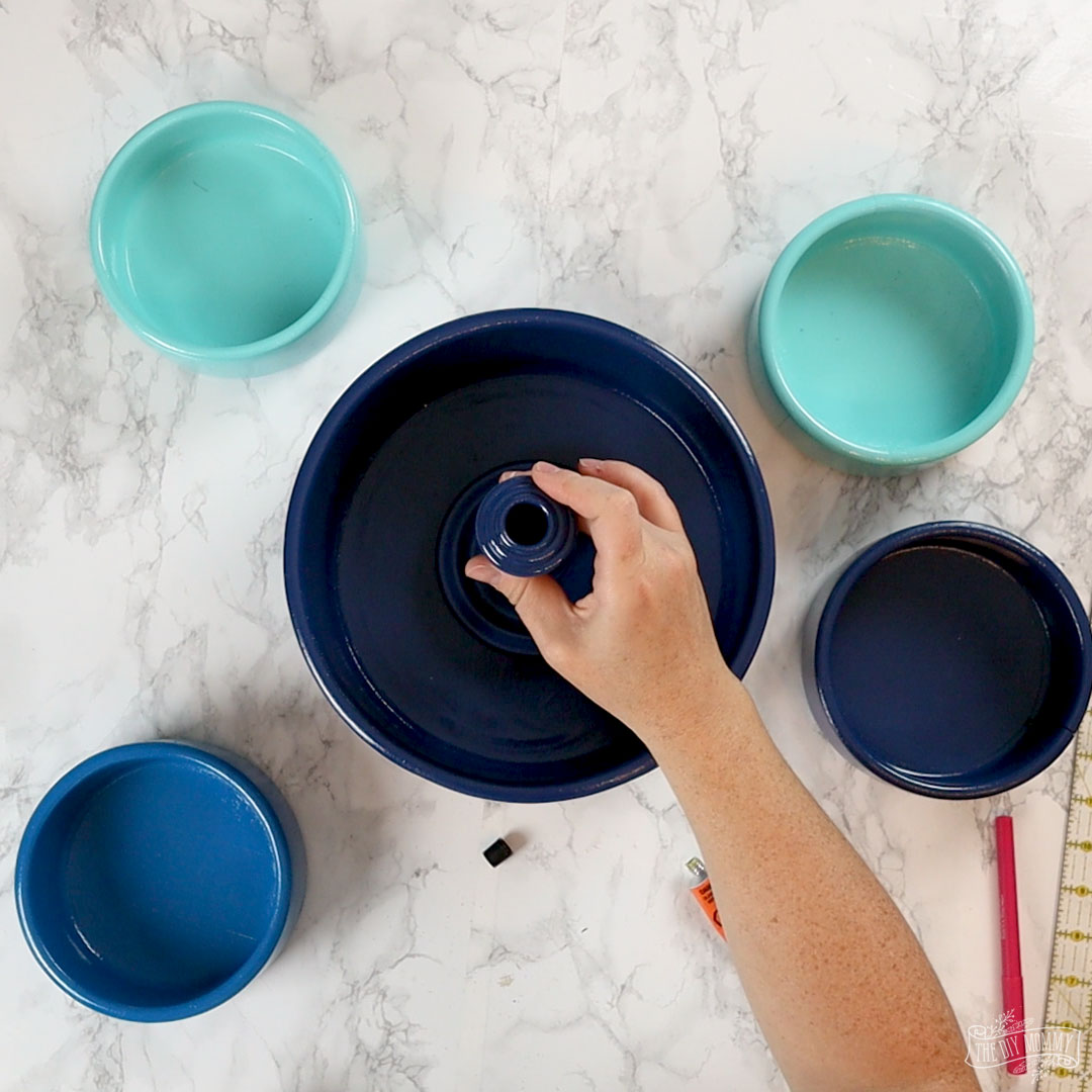 Learn how to make easy DIY tiered trays from thrifted wood bowls and candlesticks