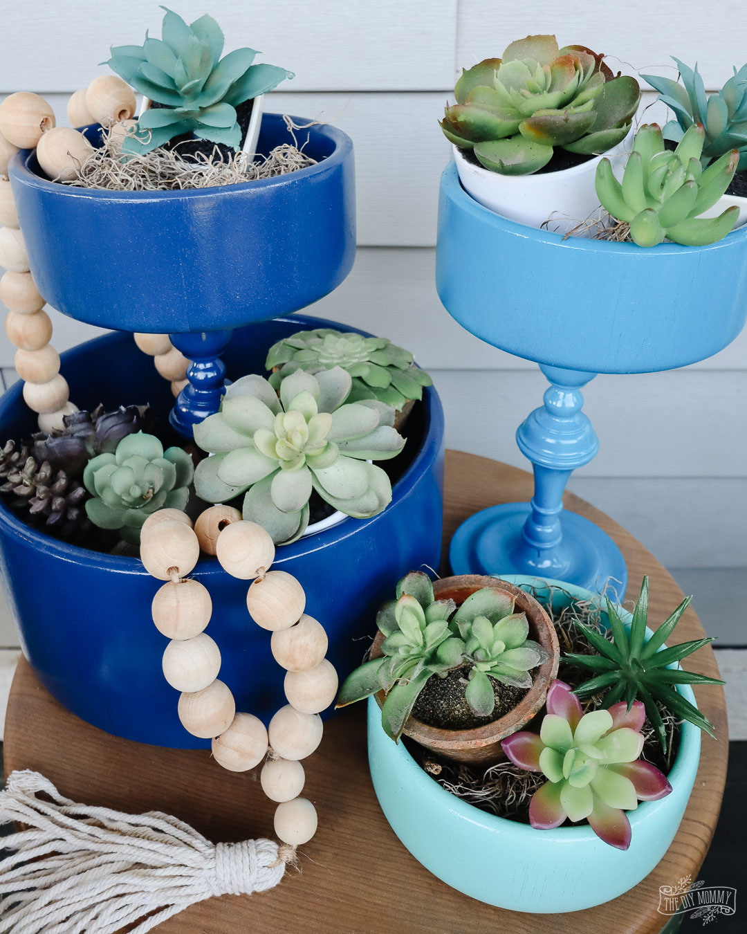 Learn how to make easy DIY tiered trays from thrifted wood bowls and candelsticks