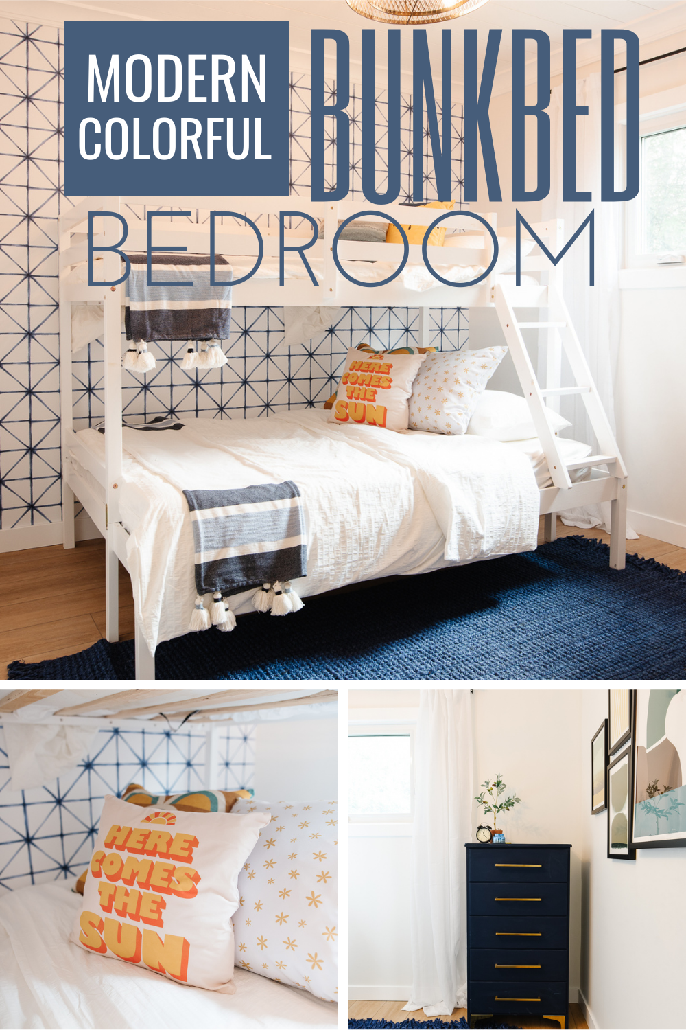 Come see how a plain, dated bedroom was transformed into a bright and cheerful bedroom with a bunk bed and blue, yellow and white colors
