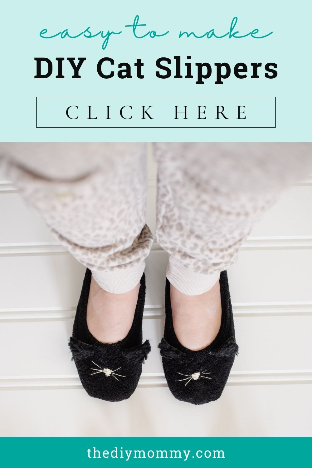Learn how to make these cute DIY cat slippers from $3 Walmart slippers. So easy to make and an adorable gift!