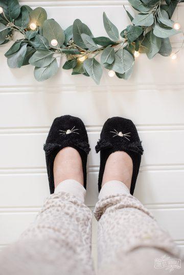 DIY cat slippers on feet